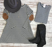 Long Sleeve Striped Swing Dress | Black, DRESSES, TOPS, badhabitboutique