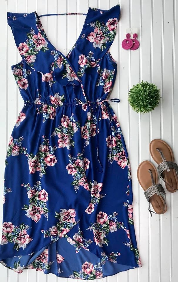 Curvy Girl Floral Wrap Dress | Blue, SALE, Soprano, badhabitboutique