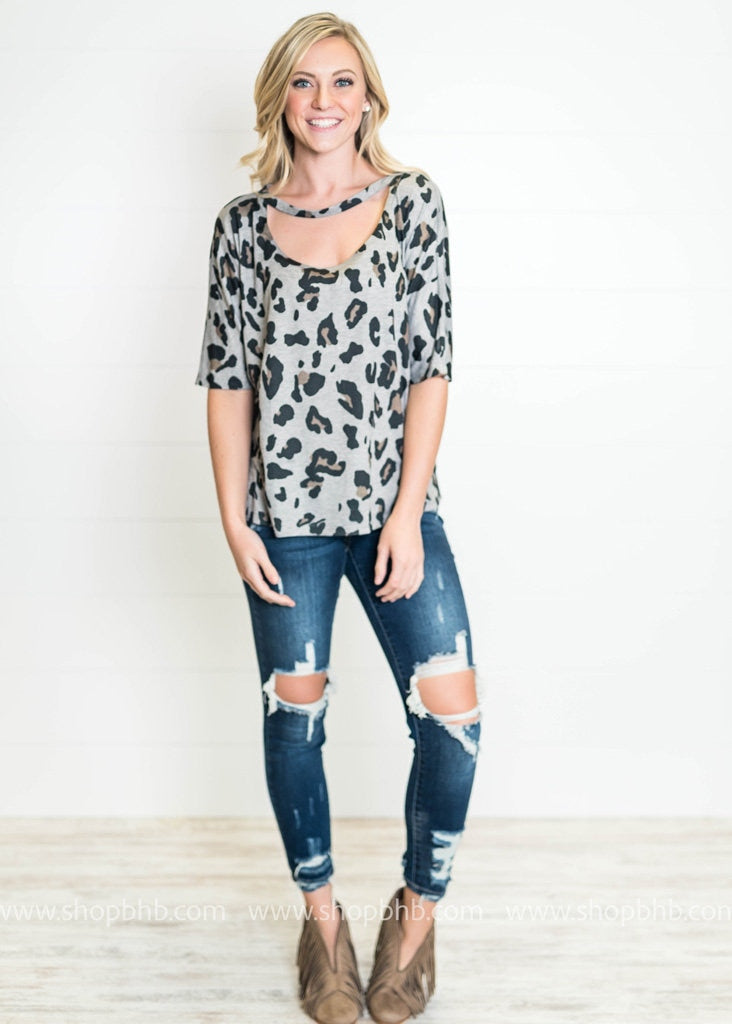 Leopard Scoop Neck Top | Gray, WHAT'S NEW, TOPS, badhabitboutique