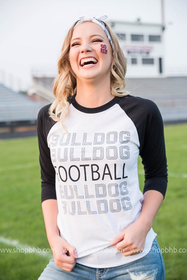 Bulldog Football 3/4 Sleeve Top, GAMEDAY, BAD HABIT APPAREL, badhabitboutique