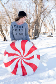 Wake Pray Sleigh Slouchy Sweatshirt, CLOTHING, BAD HABIT APPAREL, BAD HABIT BOUTIQUE