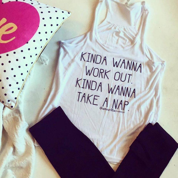Kinda Wanna Work out Kinda Wanna Take a Nap Tank, GRAPHICS, GRAPHICS, badhabitboutique