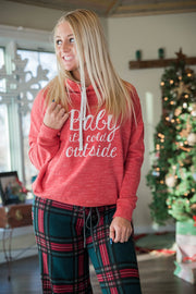 Baby Its Cold Outside Cowl Neck Hoodie, CHRISTMAS, GRAPHICS, badhabitboutique