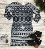 Aztec Snow Bunny Dress-Gray, DRESSES, Ginger G, badhabitboutique