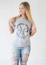 Baseball Season is my Favorite Season-white stripes on sleeve, BASEBALL, GRAPHICS, badhabitboutique
