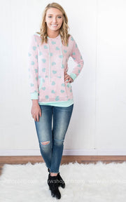 Pink Hoodie with Mint Hearts