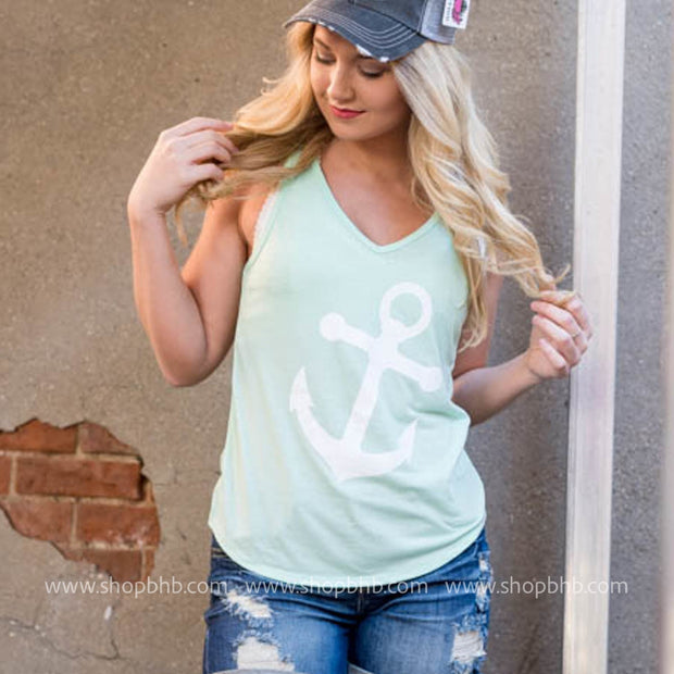 Anchors Away Tank - mint, LAKE, GRAPHICS, BAD HABIT BOUTIQUE