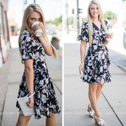 Floral Wrap Dress | Black, SALE, vendor-unknown, badhabitboutique