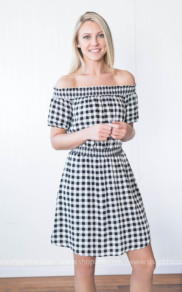 Off the Shoulder Gingham Dress | Black