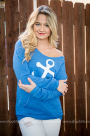Anchors Away Slouchy Sweater, LAKE, GRAPHICS, BAD HABIT BOUTIQUE