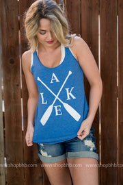 Lake Paddle Tank - blue, CUSTOM MADE, GRAPHICS, badhabitboutique