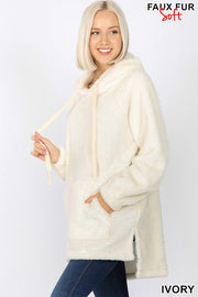 Snuggle Bear Faux Fur Pullover Hoodie-FINAL SALE
