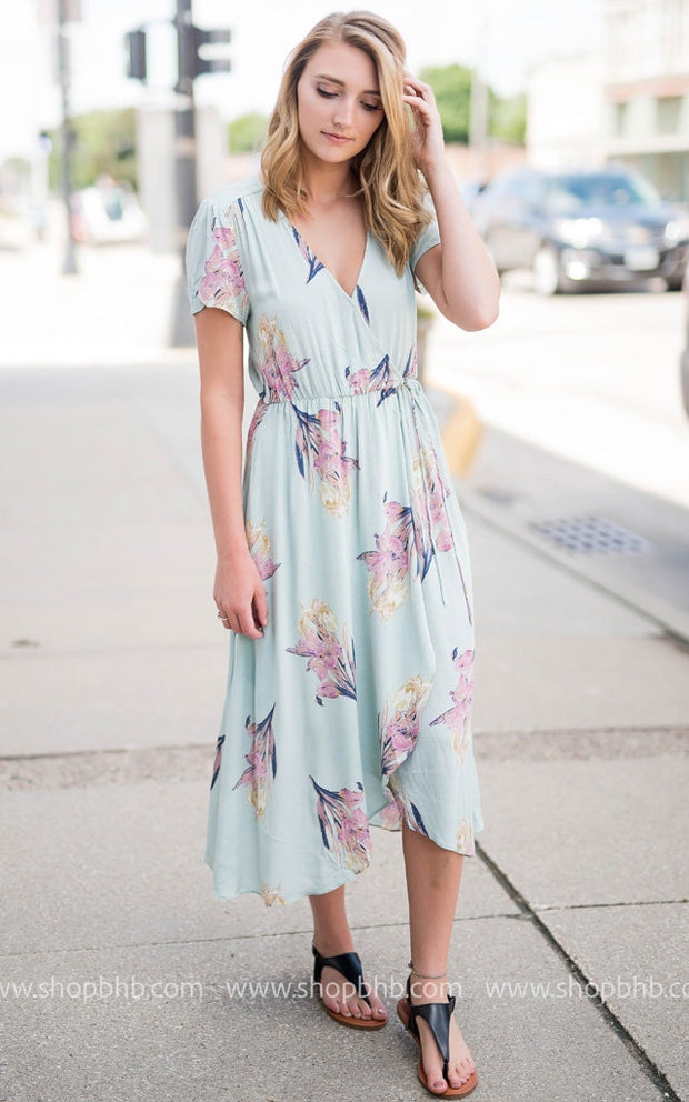 Floral Wrap Dress | Mint, SALE, vendor-unknown, badhabitboutique