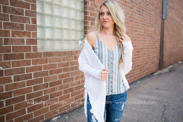 Striped Button Up Tank | Navy