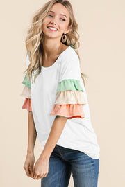 3 tiered bell sleeve top