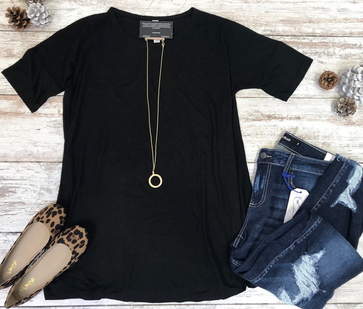 Basic Black Tunic - FINAL SALE, SALE, Zenana, BAD HABIT BOUTIQUE