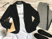 This black blazer is all about the office style edge or tearing up the street style!  Office Attire, Black Blazer, Office Jacket, Work Wear, Street Style