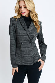 Glen Plaid Blazer- Black, JACKETS, Style Melody, badhabitboutique