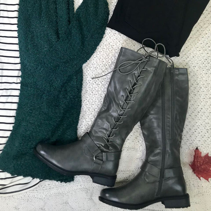 Barcelona Lace Up Rider Boots-Gray, SHOES, Olem, BAD HABIT BOUTIQUE