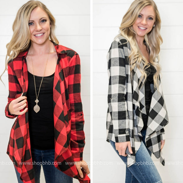 This buffalo plaid draped cardigan will be one of your go-to pieces!