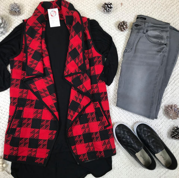 Buffalo Plaid Vest - Red/Black, BUFFALO PLAID, E2 Clothing, badhabitboutique