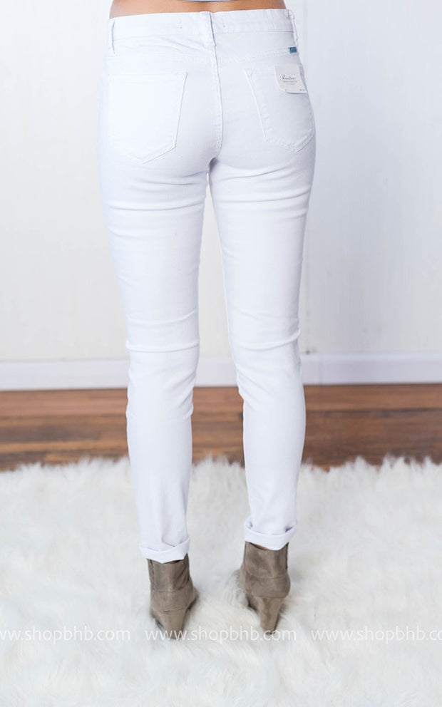 Kan Can White  Distressed Skinny, DENIM, KAN CAN, badhabitboutique