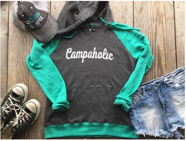 Campaholic Hoodie - Teal, CLOTHING, BAD HABIT APPAREL, BAD HABIT BOUTIQUE