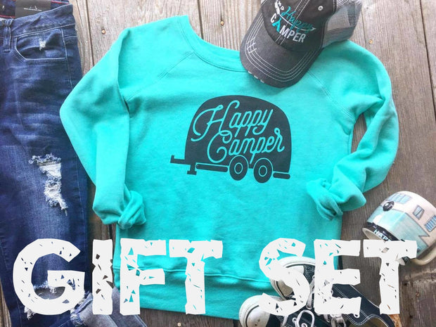 GIFT SET: Happy Camper : Sweatshirt, Mug and Hat, GIFT BOXES, vendor-unknown, badhabitboutique