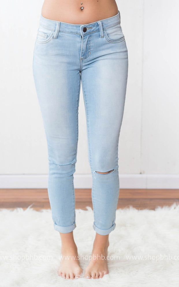Mid Rise Double Roll Cuff Skinny | Light Denim