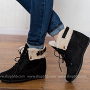Black Suede Fur Booties, SHOES, LUCCA, BAD HABIT BOUTIQUE