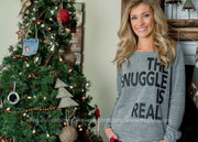 The Snuggle Is Real | Sweatshirt Slouchy , home for the holidays, holiday looks, 2019 holiday looks, holiday lounge wear,