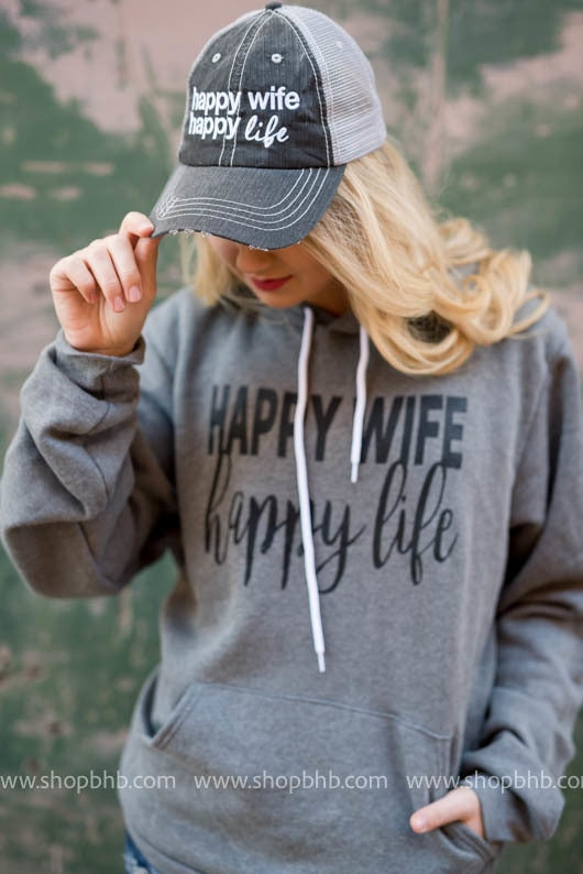 Happy Wife Happy Life Trucker Hat - Gray, MOM COLLECTION, ACCESSORIES, badhabitboutique