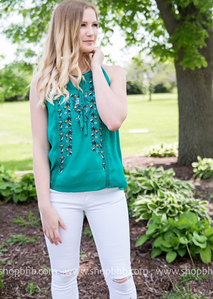 High Neck Embroidered Tank | Jade, SALE, Andree, badhabitboutique