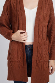 cable knit cardigan bronze