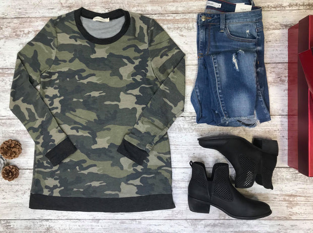 Camouflage French Terry Top, TOPS, First Look, badhabitboutique
