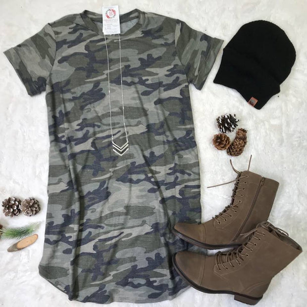Loving the camo print of this camouflage dress!