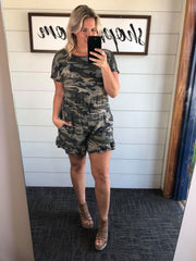 camo romper with ruffle detail on shorts