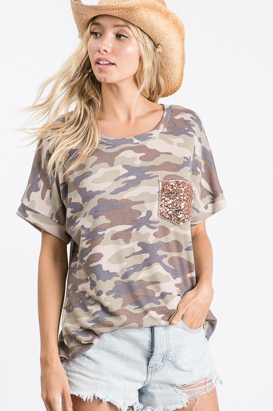 Camo Sequin Pocket Top | FINAL SALE, CLOTHING, 7th Ray, BAD HABIT BOUTIQUE