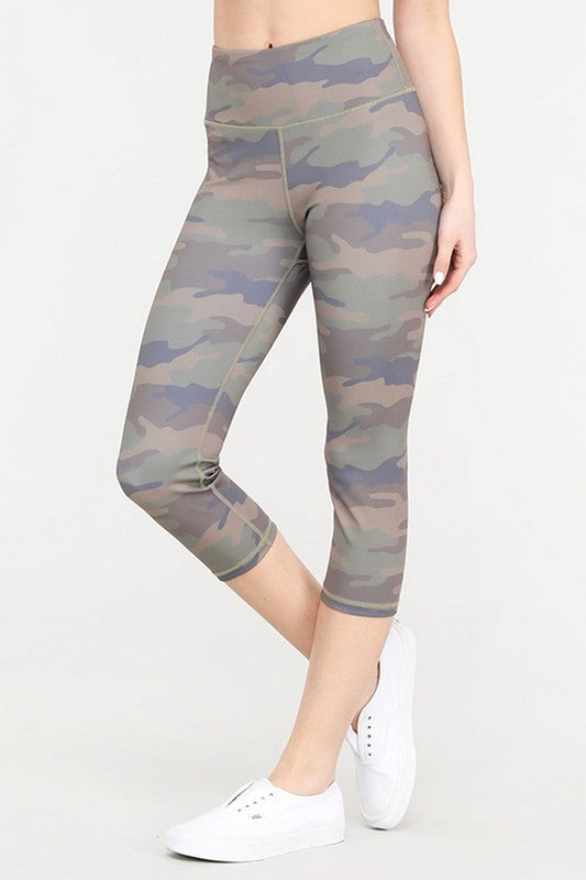 High Rise Camo Workout Capri Leggings | FINAL SALE, CLOTHING, Yelete, BAD HABIT BOUTIQUE