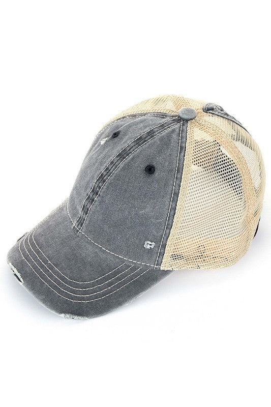 C.C. Distressed Ponytail Trucker Hats - BAD HABIT BOUTIQUE