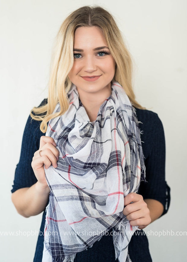 Checkered Frayed Blanket Scarf | White, SCARVES, Leto, badhabitboutique