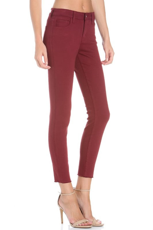 Mid Rise Burgundy Cropped Skinny - Cello
