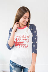RIDING DIRTY SINCE 1776 TOP, WHAT'S NEW, GRAPHICS, BAD HABIT BOUTIQUE
