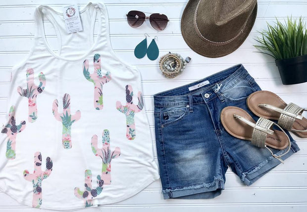 The Pink Cactus Tank | Ivory