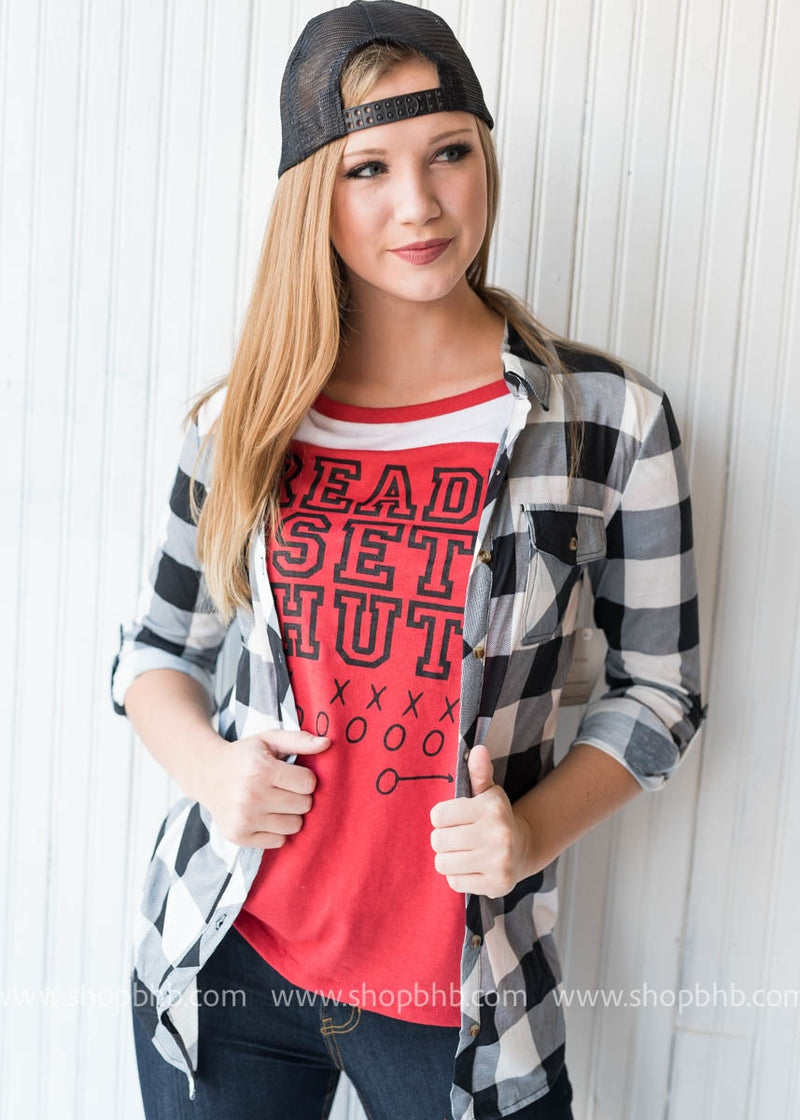 Ready Set Hut Baseball Tee - Red - BAD HABIT BOUTIQUE