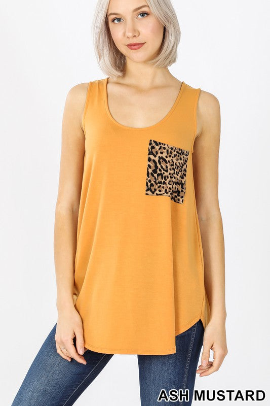 Leopard Pocket Tank Top, CLOTHING, Zenana, BAD HABIT BOUTIQUE