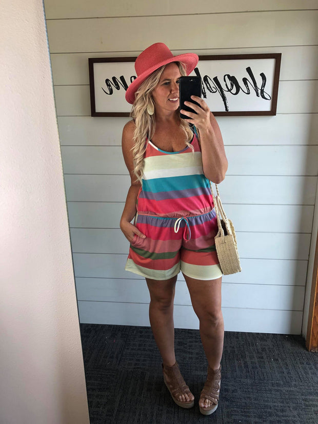 living in color striped romper