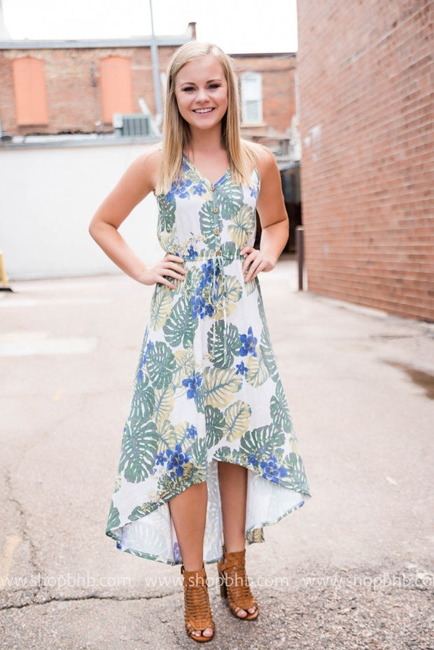 High Low Leaf Printed Dress, SALE, First Look, badhabitboutique