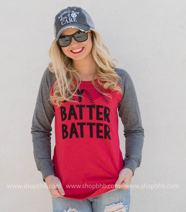 Hey Batter Batter Baseball Long Sleeve, BASEBALL, GRAPHICS, badhabitboutique