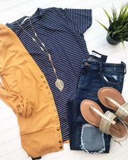 Navy Top w/ White Stripes